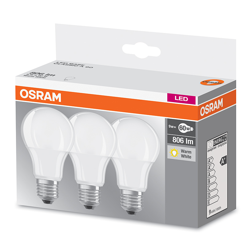 led lampe osram led base cla60 e27 9w ersatz f r 60 watt 806 lumen warmwei 3er pack. Black Bedroom Furniture Sets. Home Design Ideas