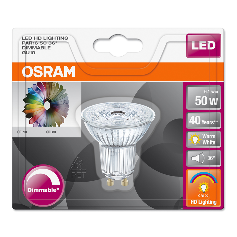 osram led star par16 gu10 6 1w 50w 350lm 36 warm white 2700k dimmable 90 ra ebay. Black Bedroom Furniture Sets. Home Design Ideas