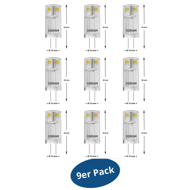 9er pack osram led star pin g4 0 9 watt wie 10 watt 100 for Led lampen 0 3 watt