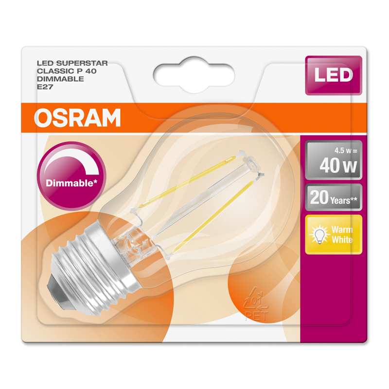 osram led superstar classic p 40 e27 4 5w wie 40 w 470. Black Bedroom Furniture Sets. Home Design Ideas
