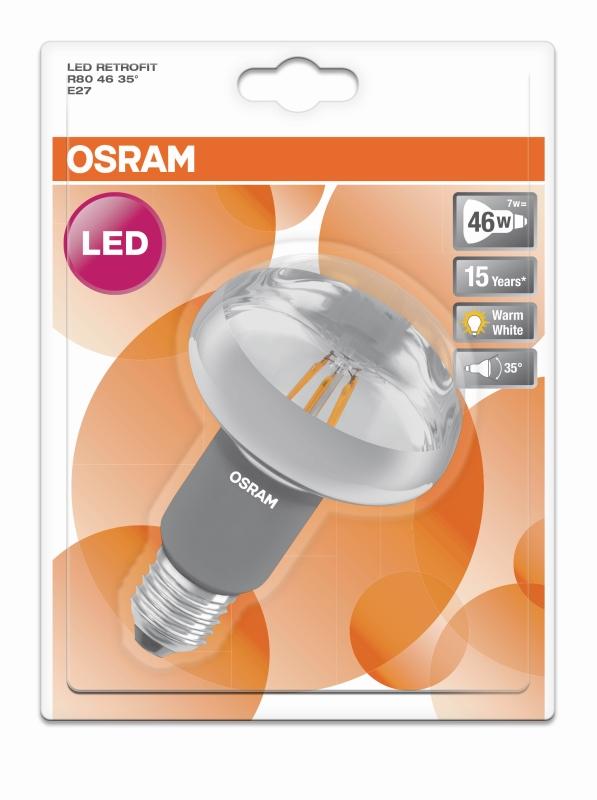 osram led reflektorlampe r80 e27 7 w ersetzt 46 watt 620. Black Bedroom Furniture Sets. Home Design Ideas