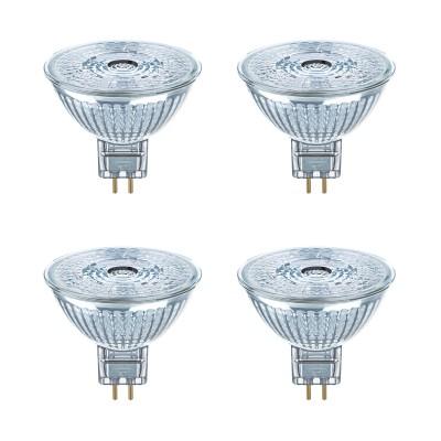OSRAM LED STAR MR16 GU5.3 GLAS 4,6W=35W 350lm 36° warm white 2700K nondim 4er