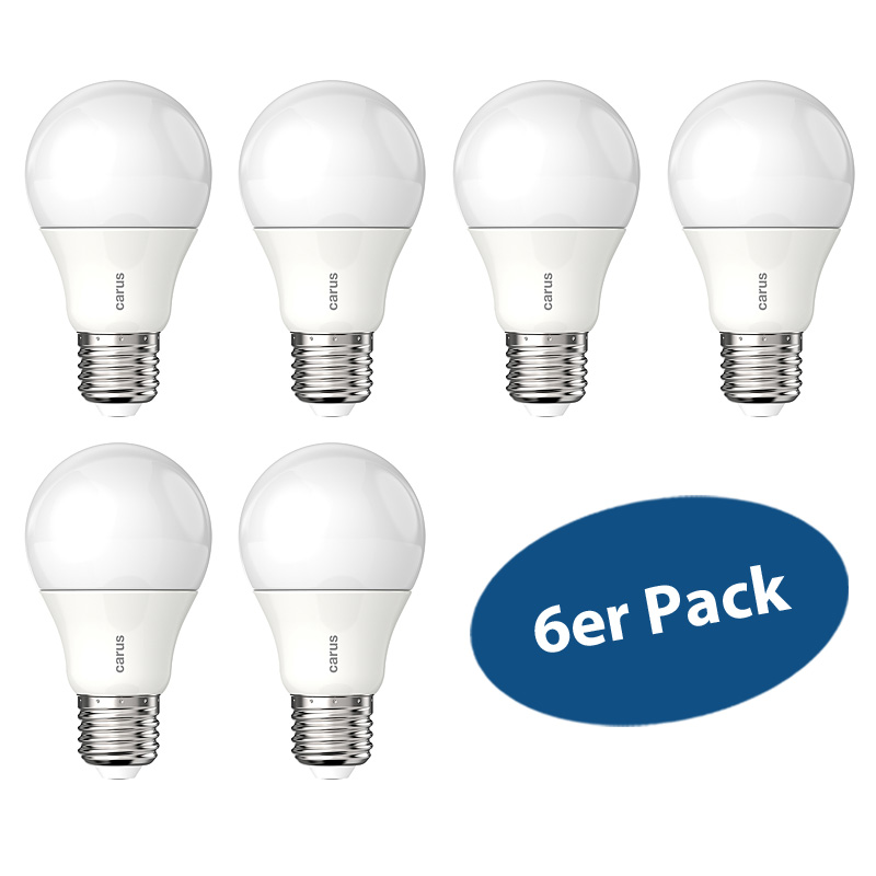 6er pack carus led lampe e27 7 5w wie 48 w 600 lumen for Lampe 600 watt