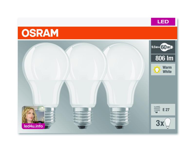 3er pack osram led base classic a 60 e27 9w wie 60 watt 806 lumen warm white ebay. Black Bedroom Furniture Sets. Home Design Ideas