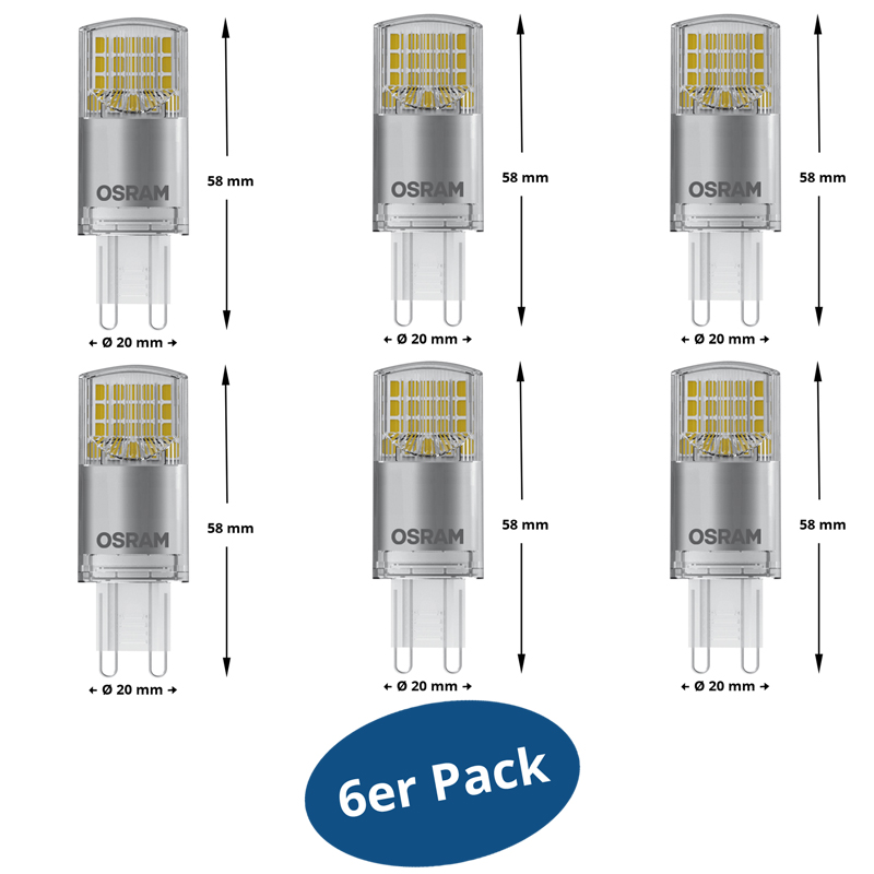 6er pack osram led star pin g9 3 8w ersetzt 40 w 470 lm warm white 2700 k a. Black Bedroom Furniture Sets. Home Design Ideas