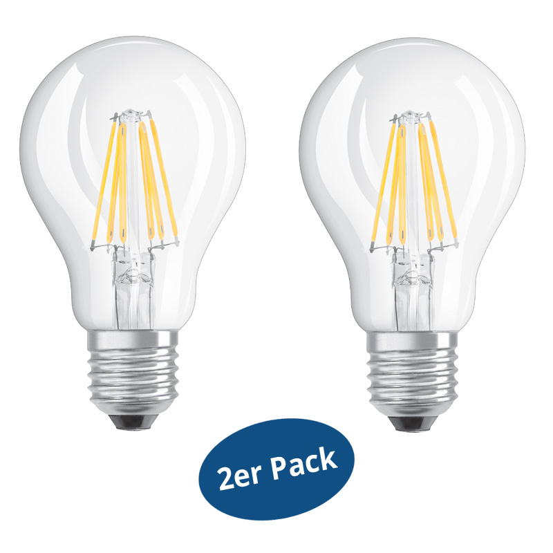 2er pack osram led base filament cla60 e27 7w ersetzt 60watt 806 lm warm white ebay. Black Bedroom Furniture Sets. Home Design Ideas