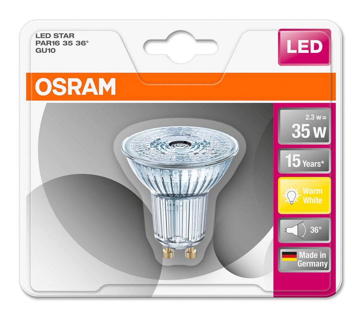 osram led star glas par16 gu10 2 3w 35w 230lm 36 warm white 2700k nodim germany ebay. Black Bedroom Furniture Sets. Home Design Ideas