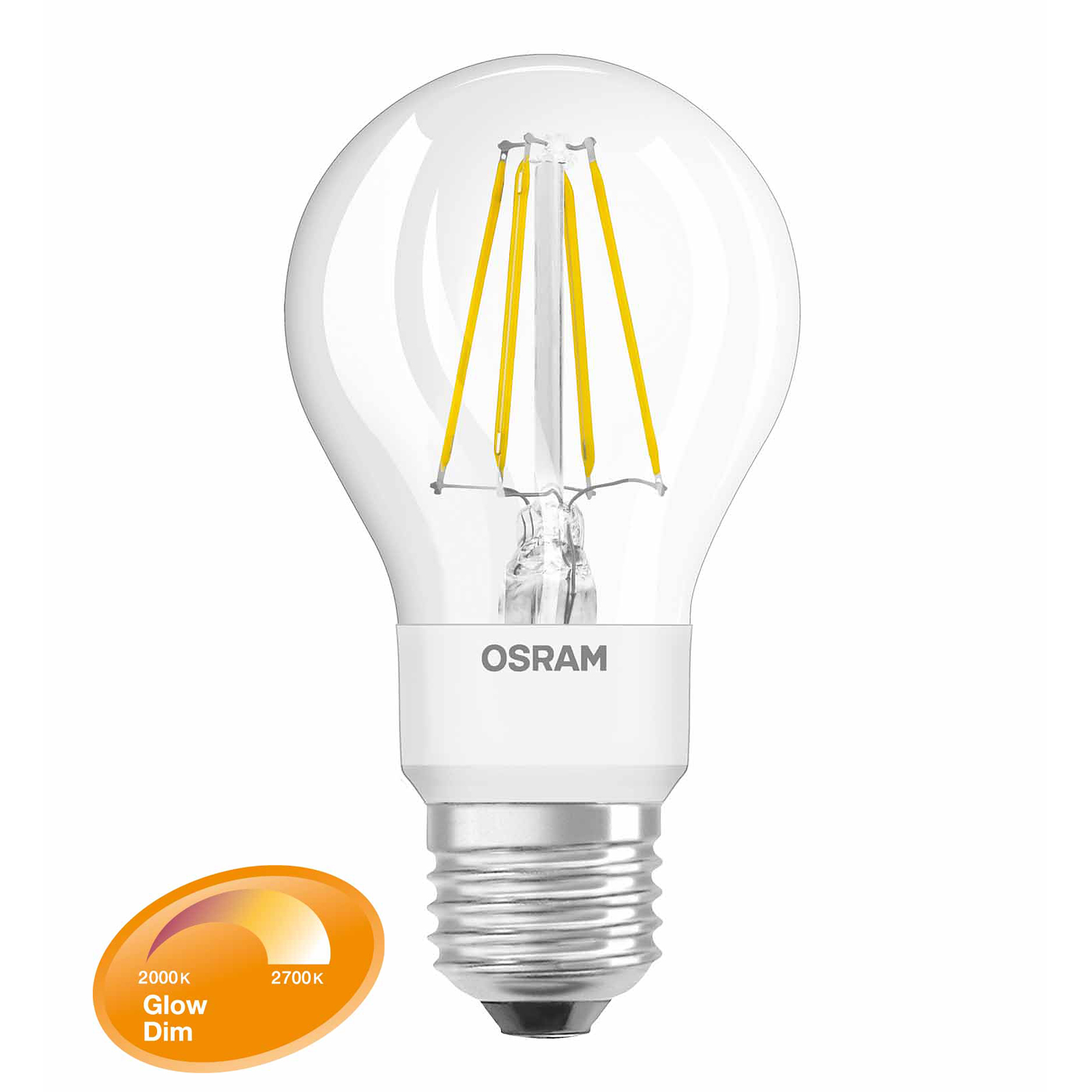 osram led filament glow dim classic a 55 e27 7w 55 w 750 lm warmwei dimmbar. Black Bedroom Furniture Sets. Home Design Ideas