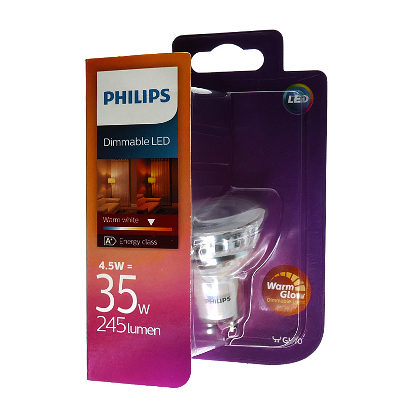 philips led spot warmglow gu10 4 5w wie 35 watt 245. Black Bedroom Furniture Sets. Home Design Ideas