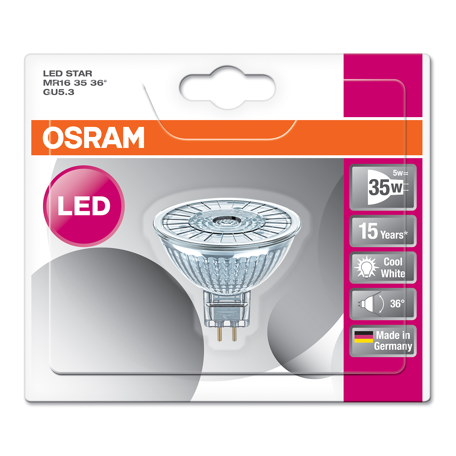 osram led star mr16 gu5 3 5 w wie 35 w 350 lm 36. Black Bedroom Furniture Sets. Home Design Ideas