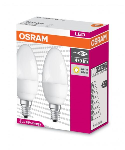 OSRAM LED CLASSIC B 40 E14 MATT 6W=40W 470lm warm white 2700K nondim