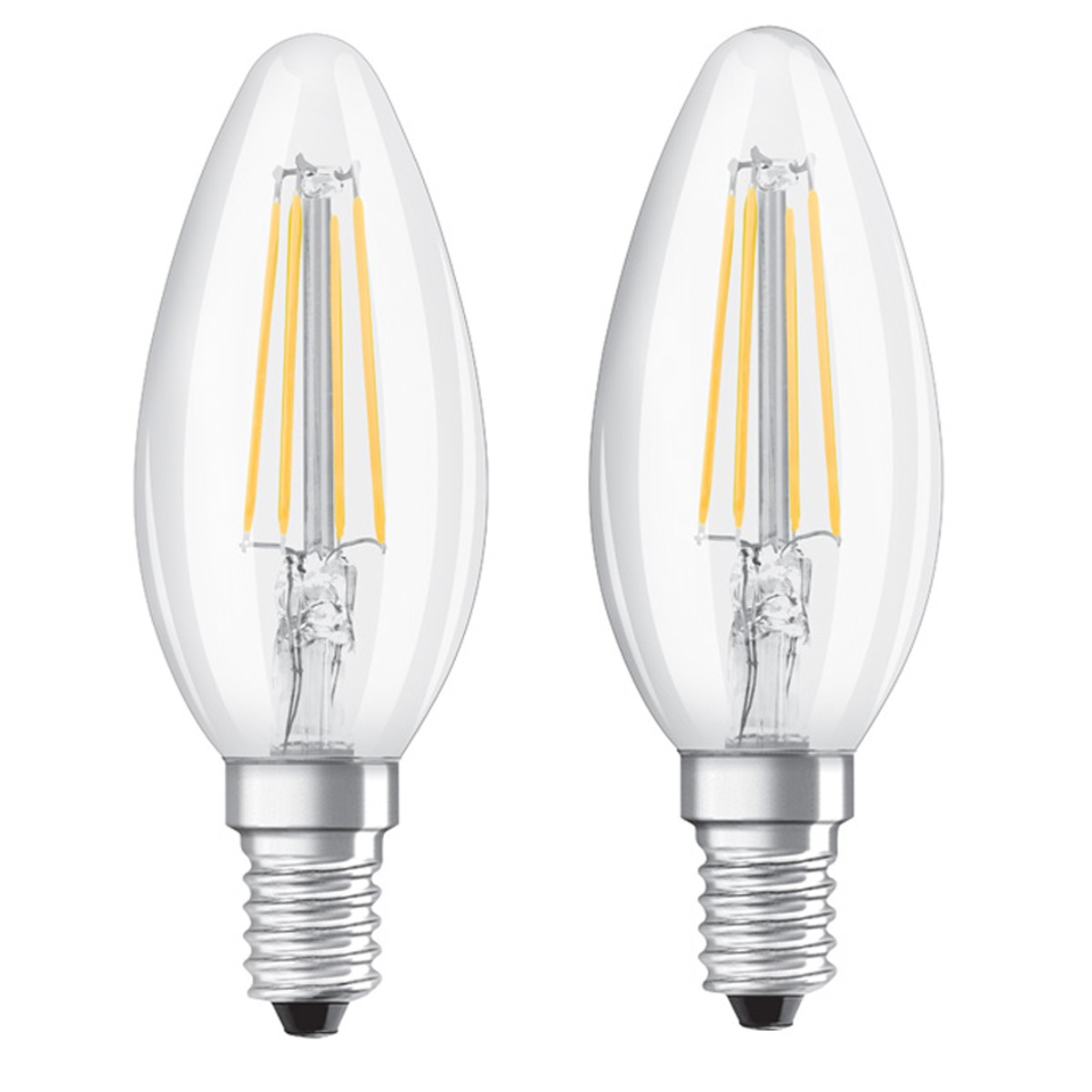 Osram E14 LED Kerze Base Filament Classic 4W 470Lm warmweiss Doppelpack