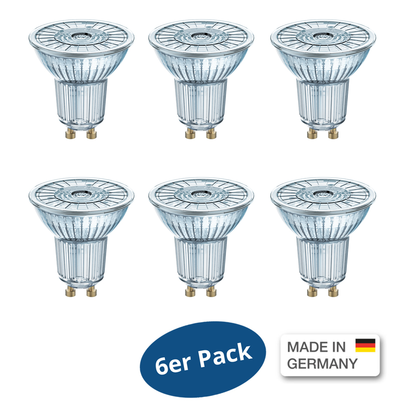 6er pack osram led base 50 36 par16 4 3watt ersetzt 50 w 350 lumen warm white ebay. Black Bedroom Furniture Sets. Home Design Ideas