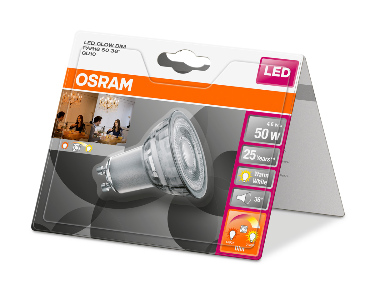 osram led superstar glowdim par16 gu10 4 6w 50w 350lm warm white 2700k 1800k 4er ebay. Black Bedroom Furniture Sets. Home Design Ideas