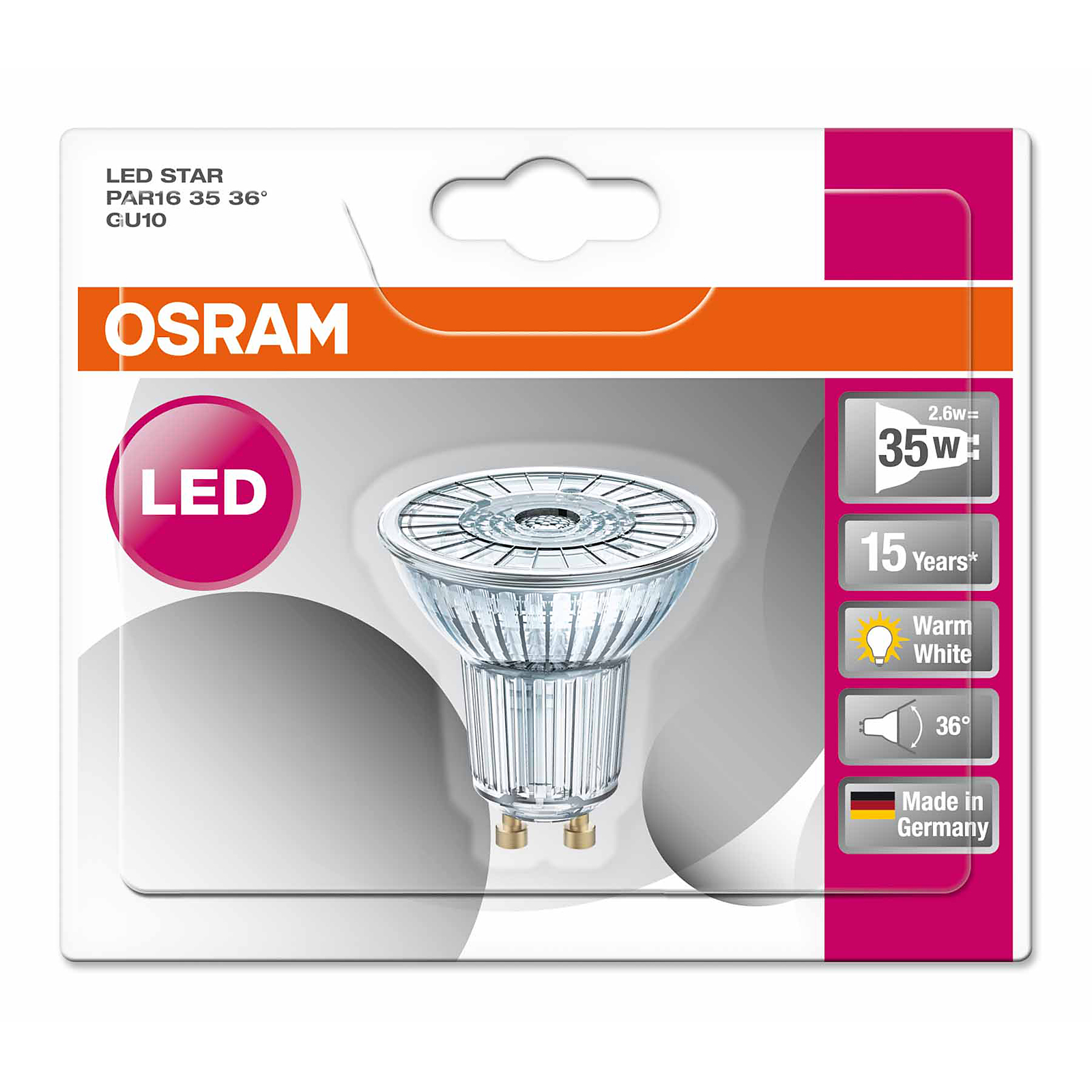 osram led star par16 35 36 gu10 2 6watt ersatz f r 35 watt 230 lumen warmwei ebay. Black Bedroom Furniture Sets. Home Design Ideas