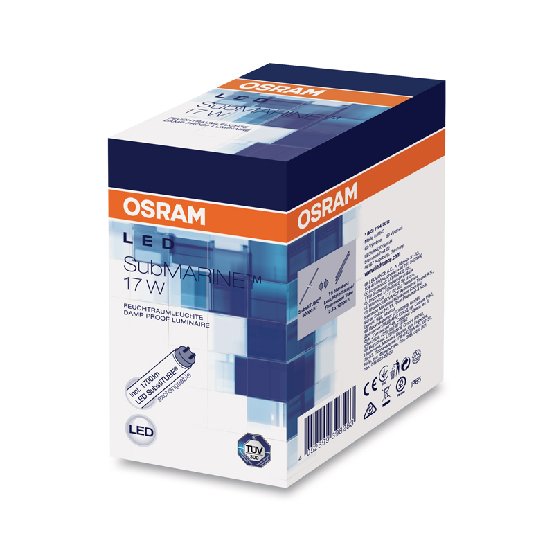 osram submarine led feuchtraumleuchte 17w 1550lm 130cm kaltwei damp proof ip65 ebay. Black Bedroom Furniture Sets. Home Design Ideas