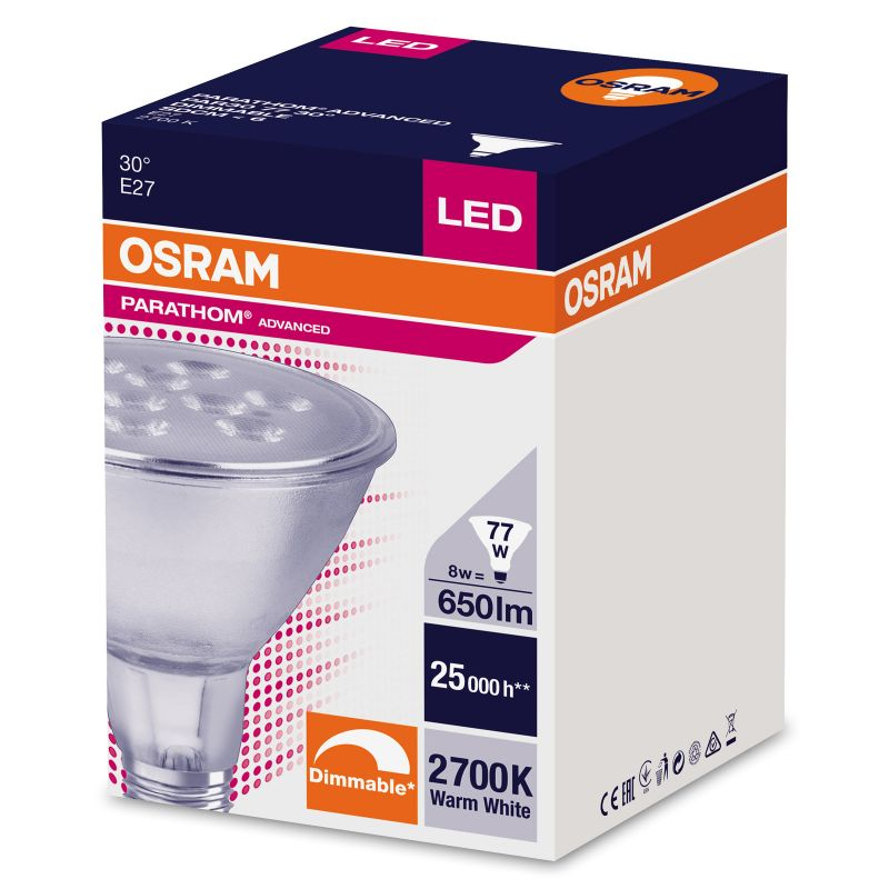 led spot osram e27 8w par30 ersatz f r 77 watt 650 lumen. Black Bedroom Furniture Sets. Home Design Ideas