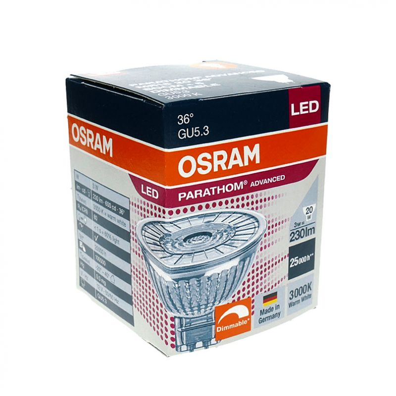 led glas spot osram parathom adv mr16 gu5 3 3w 20w 230. Black Bedroom Furniture Sets. Home Design Ideas